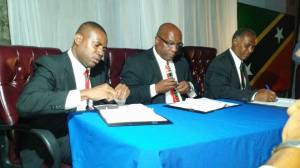 Hon. Shawn K Richards -Hon Dr. Timothy Harris and PREMIER Hon. Vance Amory signs Treaty of NATIONAL UNITY which included greater committment to NEVIS from the Federal Government through Budgetary Support and other means