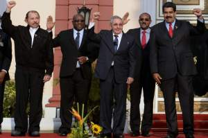 (L to R)  Nicaraguan President Daniel Ortega, Saint Kitts and Nevis PM Timothy Harris, Cuban President Raul Castro, Antigua and Barbuda's PM Gaston Browne, Venezuelan President Nicolas Maduro,