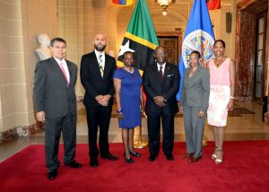SKN Embassy Staff Members from L to R: Gerald Aranza Chuffeur(Administrative Assistant Officer), Justin Kareem Hawley (Counsellor), Dr Everson Hull (Permanent Rep to the OAS), Verlyn Maynard (Consular/Senior Adminstrative Officer), Kemoy Liburd-Chow (Counsellor)