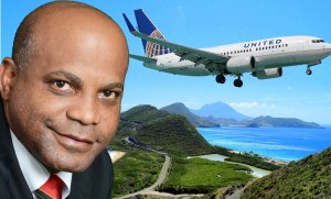 Minister of Tourism Hon Lindsay Grant welcomes UNITED Airlines direct fligh to St.Kitts from New Jerse
