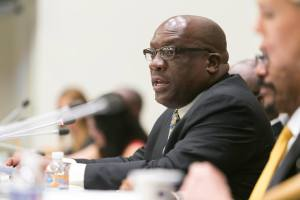 "Dr. Timothy Harris presents at the UNAIDS Symposium under the theme ""'Ending the AIDS Epidemic by 2030: Shaping New Models and Means of Implementation,' held at the United Nations Headquarters in New York on September 27, 2015."
